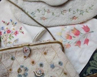 2 Delicate White Seed Beaded Vintage 1950s Purses Handbags Clutch Handkerchiefs