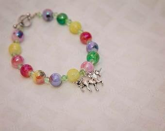 Unicorn bracelet, unicorn charm bracelet, rainbow bead, unicorn jewelry, gift for teen, stocking stuffer for teen, cute jewelry for teen