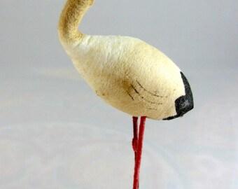 Vintage Made in Japan Spun Cotton Stork (As Is) Spun Cotton Figure Spun Cotton Collectible