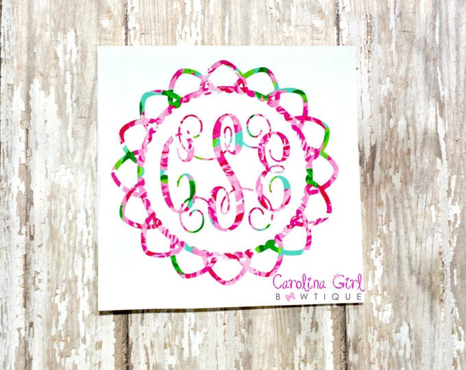 Lilly Pulitzer Inspired Monogram Flower Decal ~ Yeti Decal ~ Lilly Car Decal ~ Lilly Decal ~ Lilly Sticker