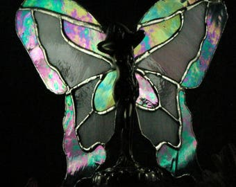 Stained Glass  Butterfly Lady in Iridescent Blue and Pink glass suncatcher
