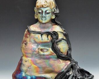 Large Buddha Statue Buddha Under the Bodhi Tree Modern Original Figurative Art Meditation Raku Ceramics Anita Feng