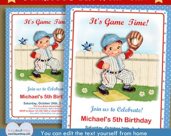 Baseball invitation - baseball birthday party - cute kids sports theme invite - brown Hair boy - INSTANT DOWNLOAD #P-6 - with editable text