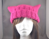 Pink Pussy Hat - Fuchsia Knit Pussy Hat - Washable Knit Pussy Cap