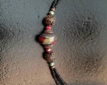 Raku Lampwork Glass Bead Necklace
