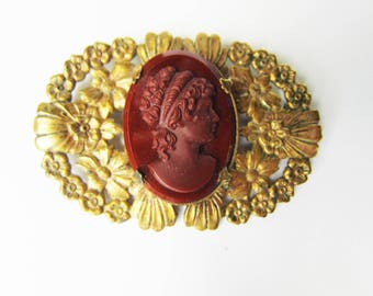 Vintage Detailed Flower Brass Brooch with Burgundy - Red Carnelian Glass Cameo - excellent condition   1618