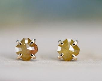 rose cut diamond earrings, yellow diamond earrings, square diamond studs, 14k gold and diamond stud earring,  Rachel Wilder Handmade Jewelry