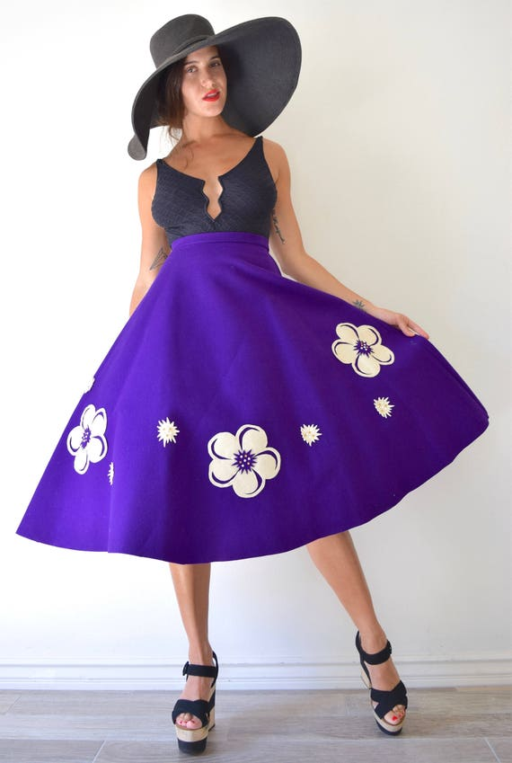 SUMMER SALE/ 30% off Vintage 50s 60s Purple Wool Felt High Waisted Semi Circle Skirt with Cut Out Flower Rhinestone Embellished Appliques (s