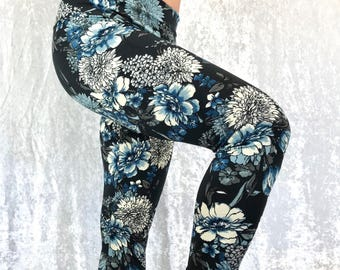 Blue Floral ~ High-Waisted Lovely Leggings by So-Fine