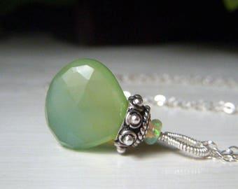 Green Chalcedony Necklace, Sterling Silver Necklace, Ethiopian Welo Opal, Wire Wrapped Gemstone Briolette, Soft Green Teardrop Pendant