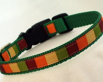 Fall Color Block - Small Dog Collar - 1/2 Inch Wide - Adjustable Between 8-11 Inches - Narrow - Toy - Tiny - Teacup - Puppy - READY TO SHIP