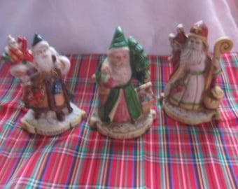 3 Vintage Santa Claus Figurines