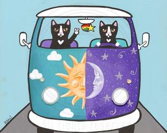 Sunny & Luna Hippie Bus Original Cat Folk Art Acrylic Painting