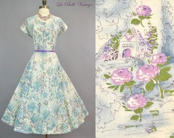 50s Novelty Dress L XL Vintage Purple Roses & Cottage Print Circle Skirt