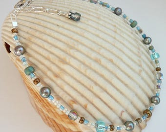 Handcrafted Artisan Eclectic Multi Colored Bohemain Glass Silver Fresh Water Pearl Sterling Silver OOAK Fun Funky Boho Summer Anklet