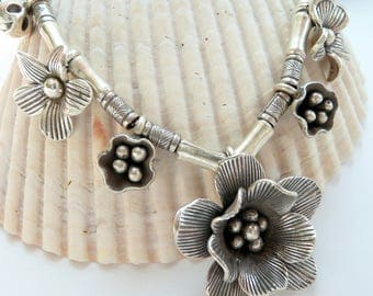 Artisan Handcrafted OOAK Karen Hill Tribe Fine Silver Flowers, Pods and Nut Charms Antique Sterling Silver Gift for Her Luxe Boho Necklace