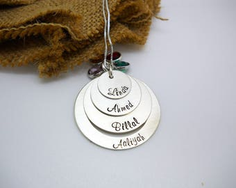 Personalize necklace for grandma, 4 disc stacked necklace for mom, Personalize Necklace, Kids Name Necklace, Mothers Day gift for grandma