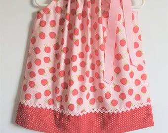 Pillowcase Dress with Strawberries Pink Dress Girls Dresses for Spring Dress Strawberry Dress Riley Blake Spring Dresses for Girls
