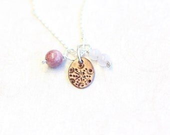 triple pendant and chain set, copper, rhodonite and rose quartz on sterling silver, rosa