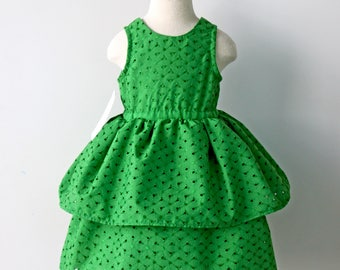 Green Flower Girl Dress, Green Birthday Dress, Toddler Dress, Green Girls Dress, Green Dress, Eyelet Dress, Hawaiian Birthday, Luau Birthday