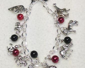 Wild Animals Charm Bracelet. African Animals Charm Bracelet.  Wild Animals Bracelet. African Bracelet