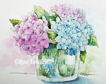 Watercolor Painting Print Hydrangeas Flowers Floral Garden Bouquet