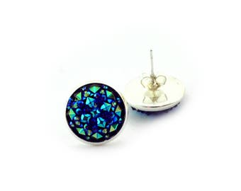 Silver and Teal Faux Druzy Stud Earrings