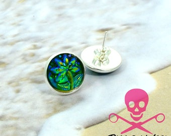 Palm Trees - Silver Plated Stud Earrings