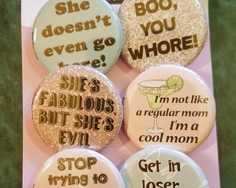 """Mean Girls set of 6 pinback buttons 1.25"""""""
