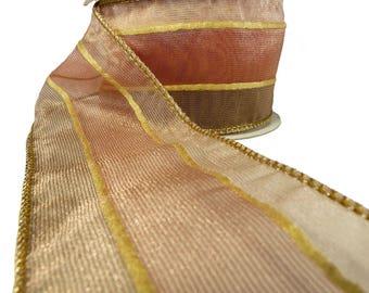 "3 Rolls Of Organza Sheer Stripe Mocha & Blush Wired Ribbon  2.5"" Wide"