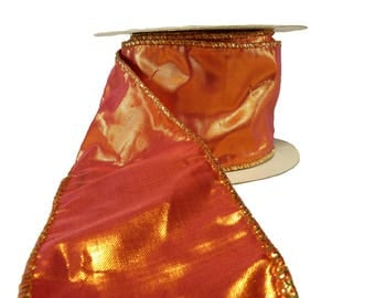 """Shiny Orange Lame With Gold Edge Wired Ribbon  2.5"""" Wide"""