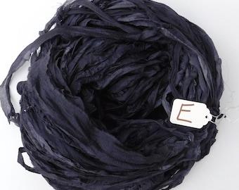 Sari silk ribbon, Chiffon Sari Ribbon, Silk sari ribbon, Dark Gray sari ribbon, weaving supply, tassel supply, spinning supply