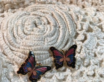 Vintage colorful Butterfly pierced earrings Costume Jewelry