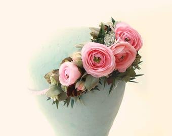 Pink flower hair crown, Ranunculus and greenery, Artificial floral head wreath, Bridal hair crown, Pink flower wreath, Wedding hair crown