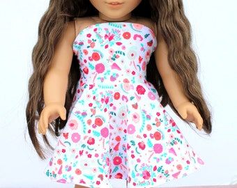 Fits like American Girl Doll Clothes - Simply Summer Bandeau Dress in Carnations