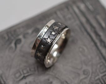 Sun, moon & stars textured oxidized celestial solid sterling silver spinner ring