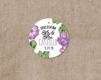 Simple Modern Floral Wedding Favor Tags - Thank you tags - Personalized Wedding Gift Tags - Bridal Shower Tags - Cheer to the new Mr & Mrs