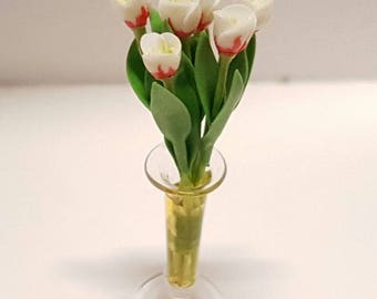 Bunch of 6 white and red tulips in transparent vase - for 1:12 dollhouse