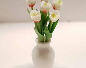 Bunch of 6 white and red tulips in white vase - for 1:12 dollhouse
