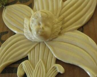 garden party ~ antique angel cherub rosary gemstone Victorian shade pull summer wrap necklace