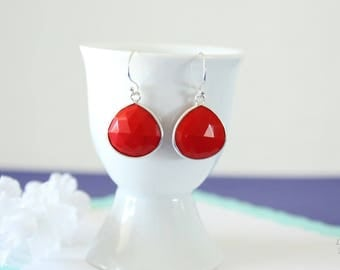 Coral Gemstone Silver Earrings, or Gold, Chalcedony, Red Green Earrings, Small, Tear Drop Gemstone, Heart Shape