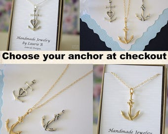 Anchor Necklace, Sterling Silver thin design, Gold Anchor, BFF, Charm Silver, Medium Anchor, Silver Anchor, Layered Charm