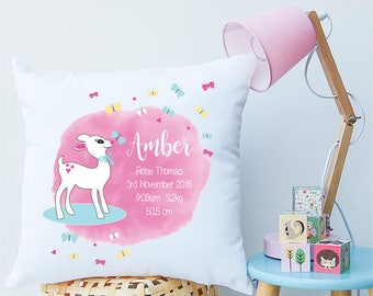 Little Lamb Baby Girls Personalised Birth Cushion