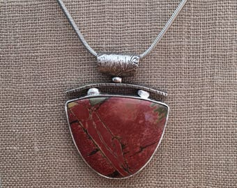 Red Creek Jasper with textured Sterling