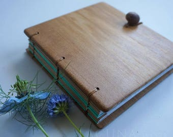 Notebook Blank Diary Wood covers