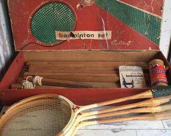 Vintage Sportcraft Badminton Set 4 Racket Racquets - Wooden With Net, Old Shuttlecocks, Original Box, Great Display