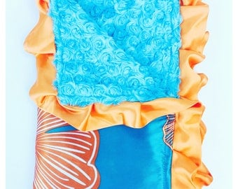 BABY BLANKET / Beautiful satin print with soft plush turquoise minky swirls / Toddler blanket  / Unique baby shower  gift/ one of a kind