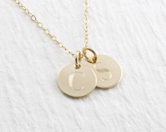 14k Solid Gold Initial Necklace, Typewriter Font, Solid Gold Charm Necklace, Personalized Engraved Jewelry, Christmas Gift, Mother Gift