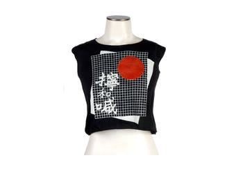 Vintage 80s T-Shirt - 80s Crop Top - Cropped T-Shirt - 80s Japan T-Shirt - 80s New Wave T-Shirt - Midriff Top - NOS - Black Red - Rising Sun
