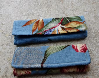 Luggage Handle Covers, Set of 2, Blue Barkcloth Floral Print Fabric, Travel Gift, Luggage Tags